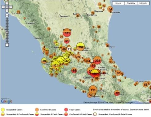 mapa gripe a1h1